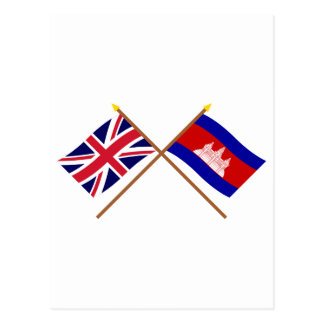 UK and Cambodia Crossed Flags Postcard