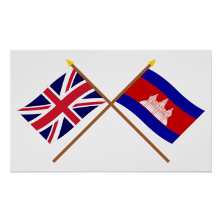 UK and Cambodia Crossed Flags Posters
