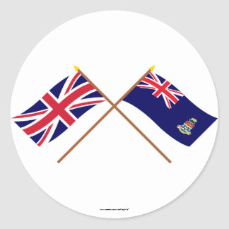 UK and Cayman Islands Crossed Flags Classic Round Sticker