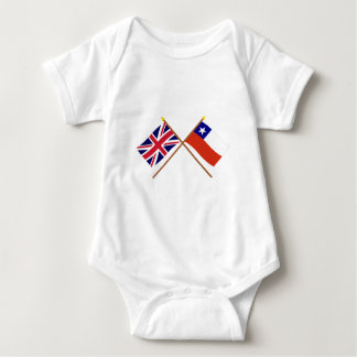 UK and Chile Crossed Flags Baby Bodysuit