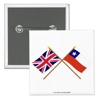 UK and Chile Crossed Flags Buttons