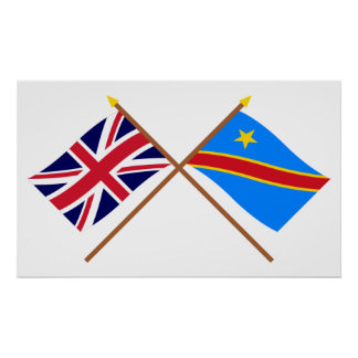 UK and Congo Democratic Republic Crossed Flags Poster