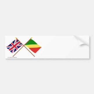 UK and Congo Republic Crossed Flags Bumper Sticker
