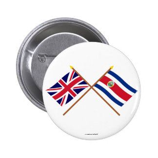 UK and Costa Rica Crossed Flags Buttons