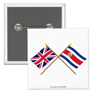 UK and Costa Rica Crossed Flags Pin