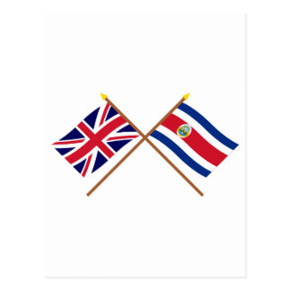 UK and Costa Rica Crossed Flags Postcard
