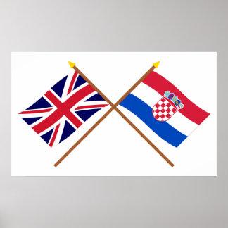 UK and Croatia Crossed Flags Poster