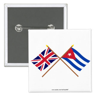 UK and Cuba Crossed Flags Pinback Button