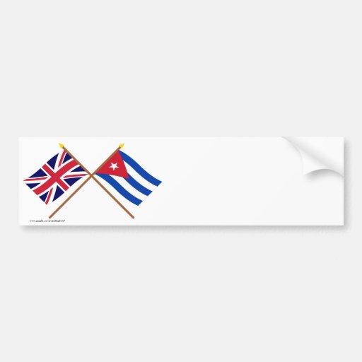 UK and Cuba Crossed Flags Car Bumper Sticker