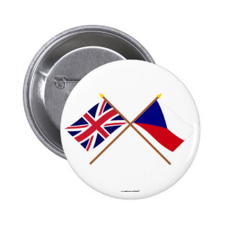 UK and Czech Republic Crossed Flags 2 Inch Round Button