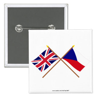 UK and Czech Republic Crossed Flags Pin