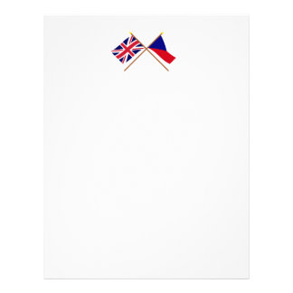 UK and Czech Republic Crossed Flags Letterhead Template
