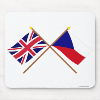 UK and Czech Republic Crossed Flags Mouse Pad