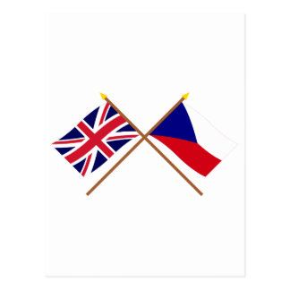 UK and Czech Republic Crossed Flags Postcard