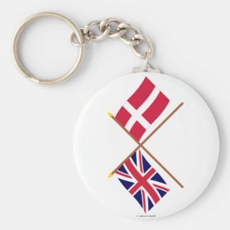 UK and Denmark Crossed Flags Keychain