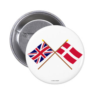 UK and Denmark Crossed Flags Pinback Button