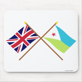 UK and Djibouti Crossed Flags Mouse Pad