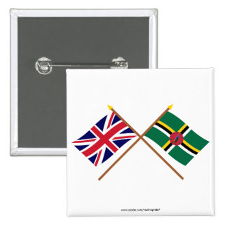 UK and Dominica Crossed Flags Button