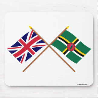 UK and Dominica Crossed Flags Mouse Pad