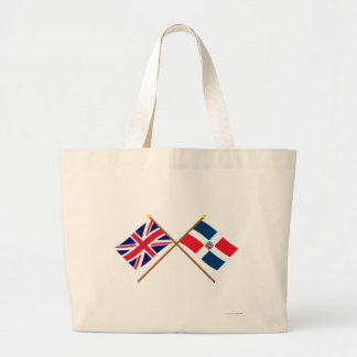 UK and Dominican Republic Crossed Flags Tote Bags