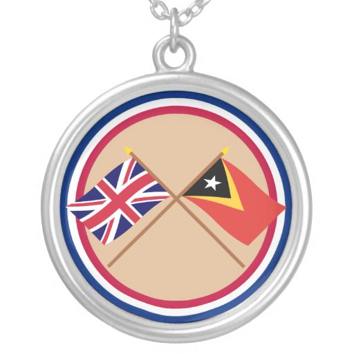UK and East Timor Crossed Flags Personalized Necklace
