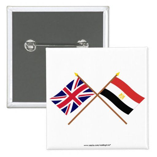 UK and Egypt Crossed Flags 2 Inch Square Button