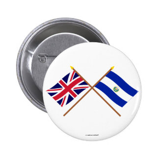 UK and El Salvador Crossed Flags Button