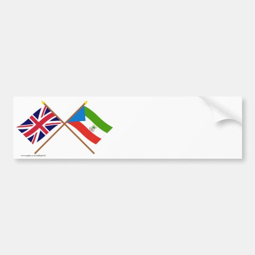 UK and Equatorial Guinea Crossed Flags Bumper Stickers