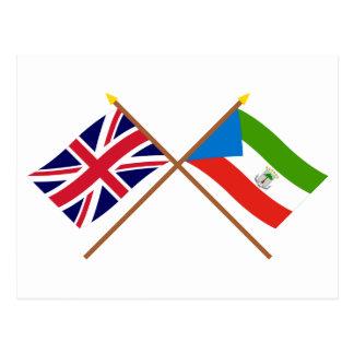 UK and Equatorial Guinea Crossed Flags Postcard