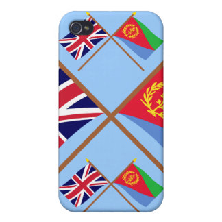 UK and Eritrea Crossed Flags Covers For iPhone 4