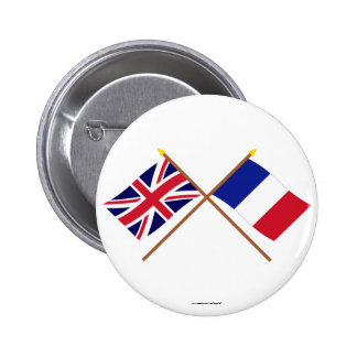 UK and France Crossed Flags Pinback Buttons