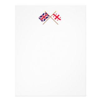 UK and Georgia Republic Crossed Flags Letterhead Design