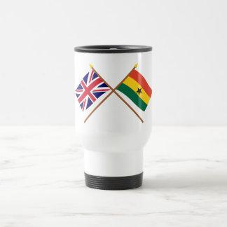 UK and Ghana Crossed Flags 15 Oz Stainless Steel Travel Mug