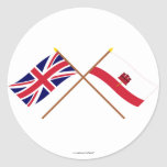 UK and Gibraltar Crossed Flags Round Stickers