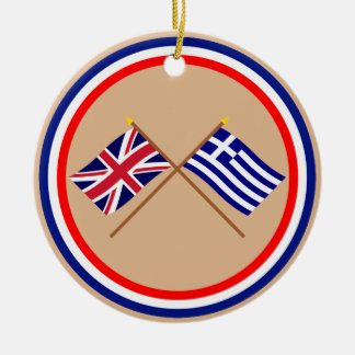 UK and Greece Crossed Flags Double-Sided Ceramic Round Christmas Ornament