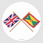 UK and Grenada Crossed Flags Classic Round Sticker