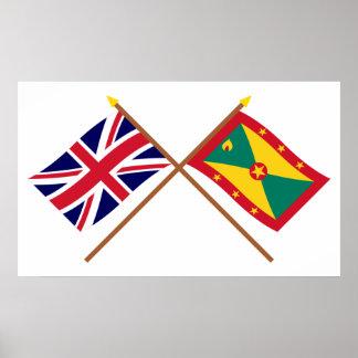 UK and Grenada Crossed Flags Poster