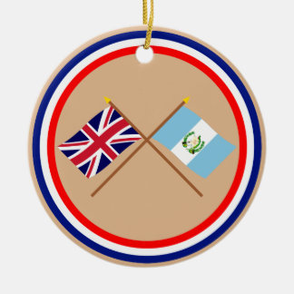 UK and Guatemala Crossed Flags Christmas Ornament