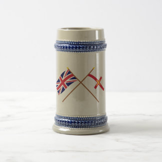 UK and Guernsey Crossed Flags 18 Oz Beer Stein