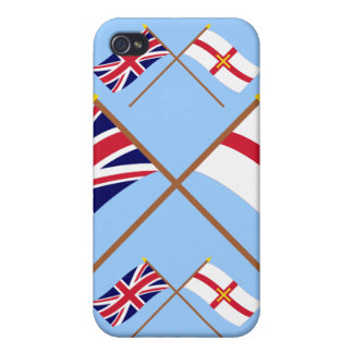 UK and Guernsey Crossed Flags iPhone 4/4S Cases