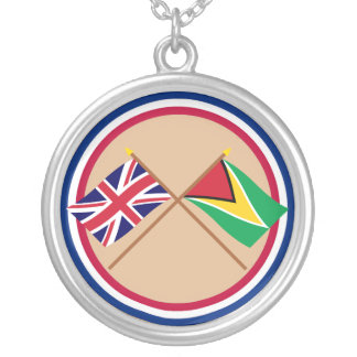 UK and Guyana Crossed Flags Silver Plated Necklace