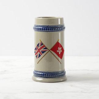 UK and Hong Kong Crossed Flags Beer Stein