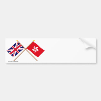 UK and Hong Kong Crossed Flags Bumper Sticker