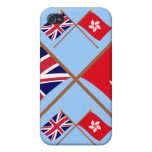 UK and Hong Kong Crossed Flags Cover For iPhone 4