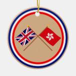 UK and Hong Kong Crossed Flags Christmas Tree Ornaments