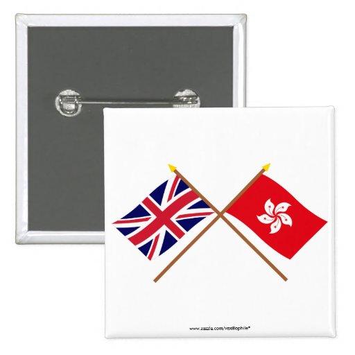 UK and Hong Kong Crossed Flags Pin