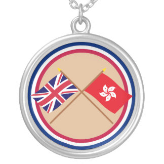 UK and Hong Kong Crossed Flags Round Pendant Necklace