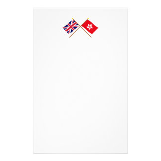 UK and Hong Kong Crossed Flags Stationery Design
