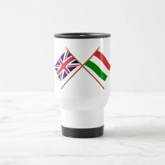 UK and Hungary Crossed Flags Mugs