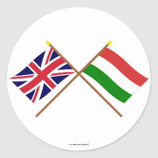 UK and Hungary Crossed Flags Round Stickers